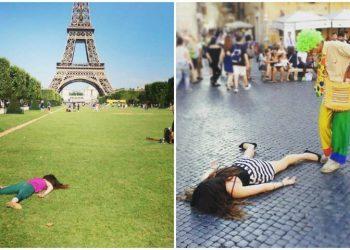 Анти-селфи: девушка притворяется мертвой в популярных местах всего мира (30 фото)