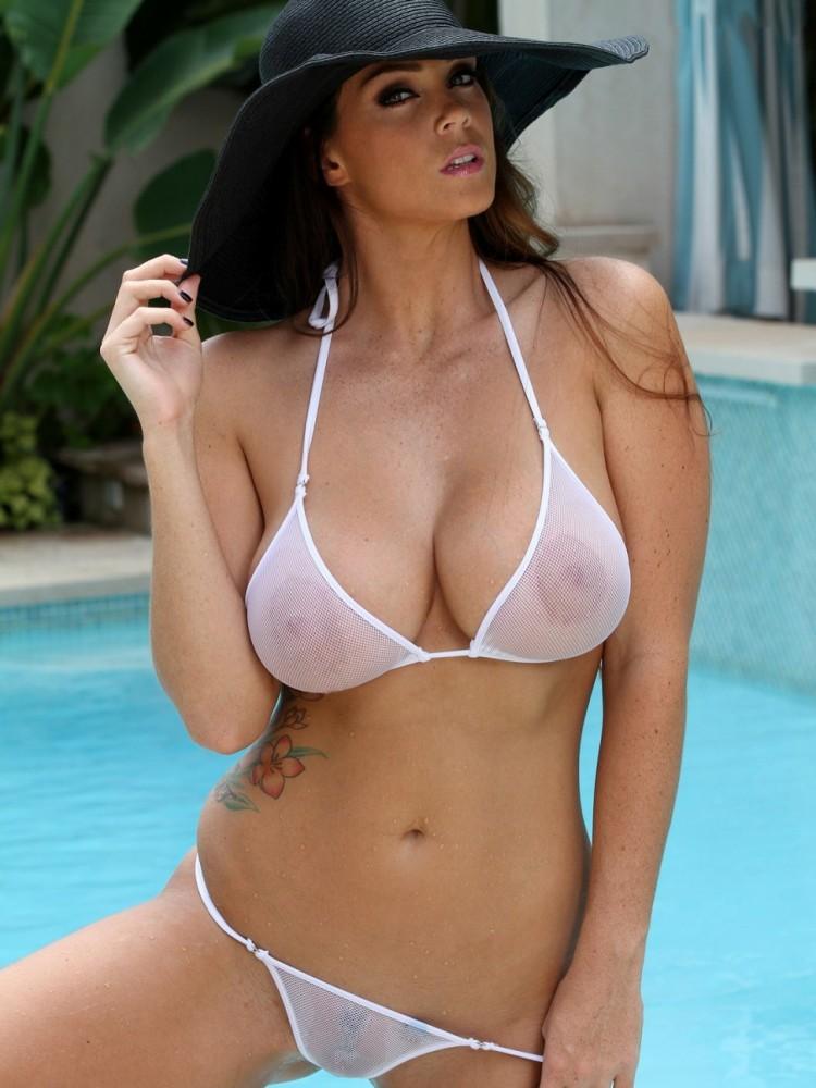 Girl has hot girl white bikini big boobs