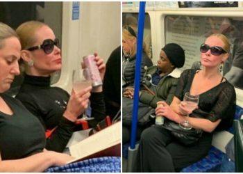 В метро Лондона заметили элегантную даму с бокалом (8фото)