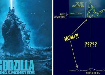 Парень в смешных иллюстрациях показал, как Годзилла в глубоких океанических водах могла находится практически всем своим телом на поверхности (15фото)