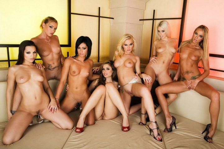 семь голых и сексуальных красавиц эротично позируют на камеру в доме