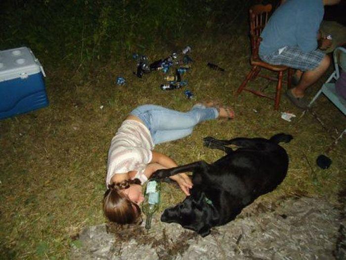 Тот случай, когда собака настоящий друг.Даже в пьянке не бросит