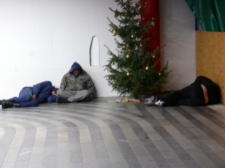 Три странных мужчины скромно спят у новогодней елки.