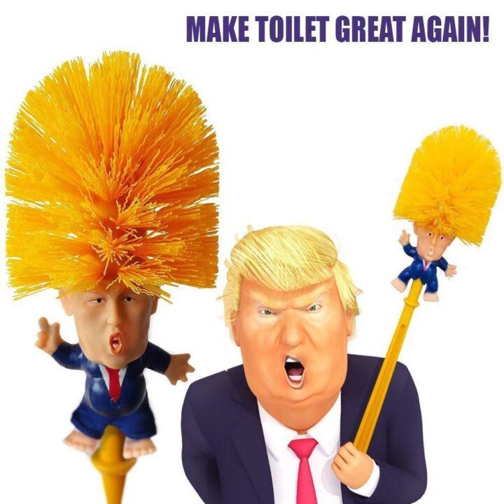 Смешной ершик для унитаза с головой Дональда Трампа.
